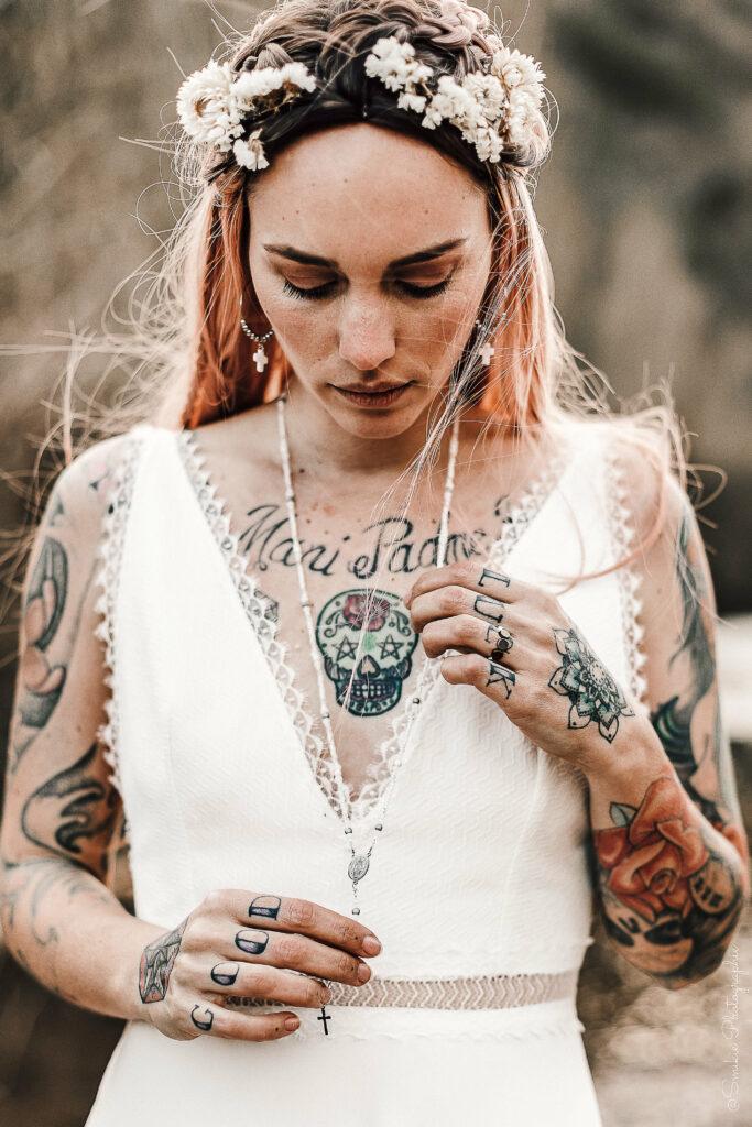 shooting photo folk rock robe de mariée Atelier Swan