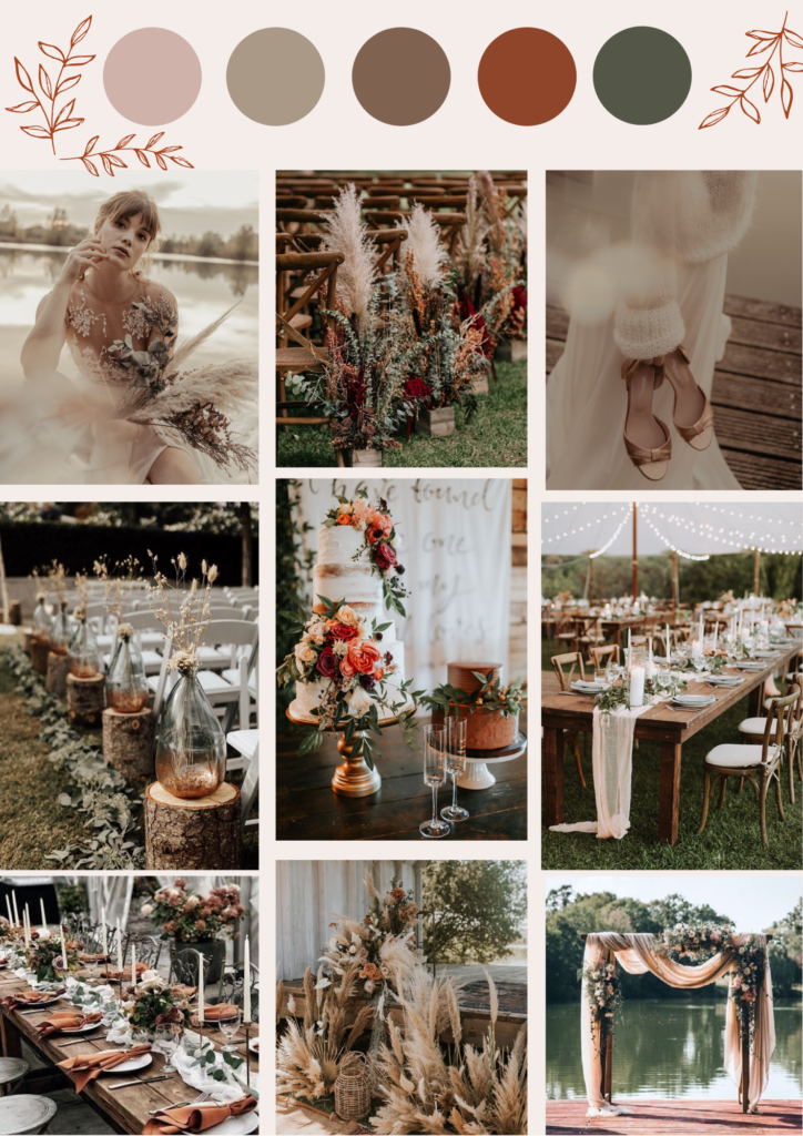moodboard couleur décoration ambiance mariage automne atelier swan